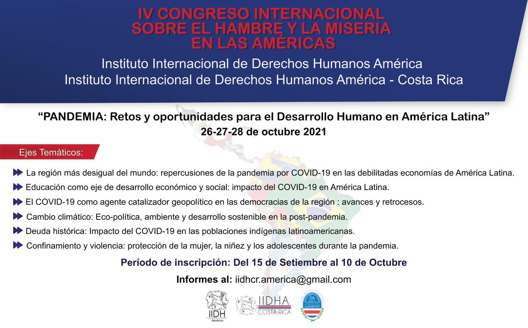 IV Congreso Internacional sobre el hambre y la miseria en las Américas